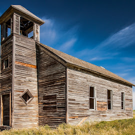 Empty Pews by Mike Lee - Buildings & Architecture Decaying & Abandoned ( church, rustic building, montana, old church, prairie )