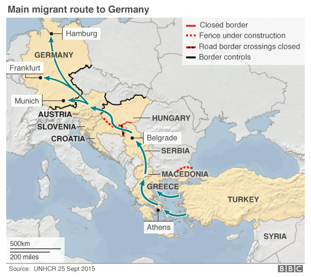 The main migrant route to Germany, 25 September 2015. Graphic: UNHCR / BBC News