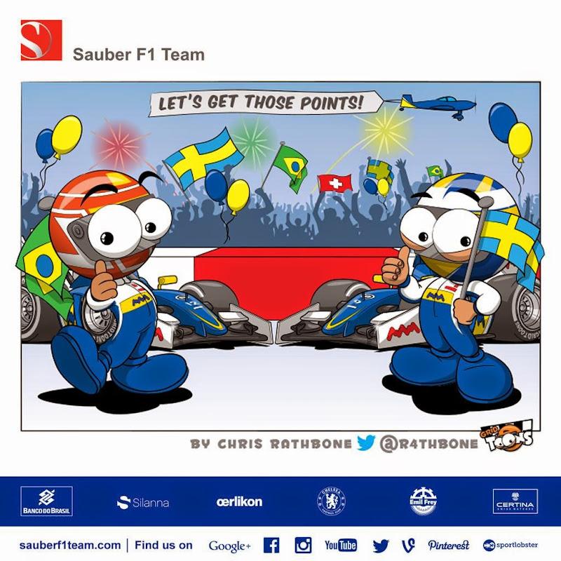 Фелипе Наср и Маркус Эрикссон готовы заработать еще очков для Sauber - комикс Chris Rathbone перед Гран-при Малайзии 2015