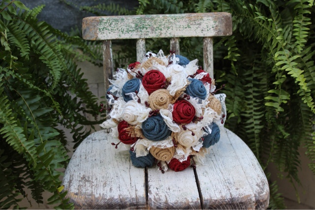 rustic red, white and blue bridal bouquet