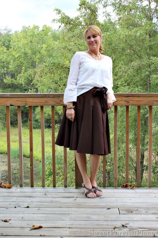 brown-midi-skirt-white-blouse1
