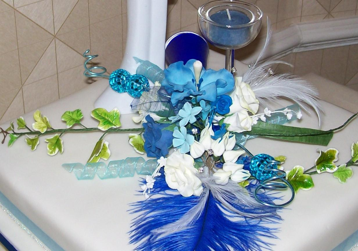 Blue and White roses,