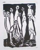Dej BAO. 042 . Un Chemin dans la Pierre . 1977 .Lithographie . 36,5 x 27,5 cm