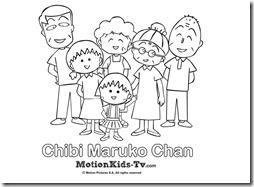 Dibujos para pintar y colorear, actividades con los niños. Dibujo de la familia de Chibi