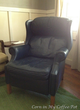 Blue Leather Wingback Recliner