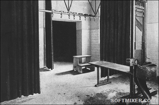 View of the guillotine and the hook for the hangings in the notorious prison of Pankrac in Prague during the German occupation. In this room were executed the condemned to death victims of the Nazi regime (undated image).
