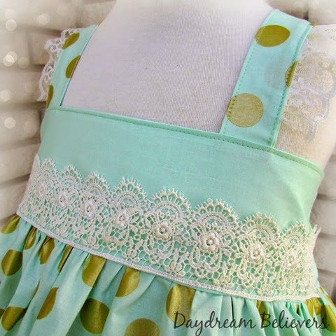 Mint and Gold Special Occassion Easter Dress with Lace Accents by Daydream Believers Designs