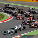 Start of the 2014 Spanish F1 Grand Prix first corner