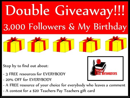 Double Giveaway!!! 3,000 Followers and my birthday giveaway - stop by Raki's Rad Resources to find out about 4 awesome options!!