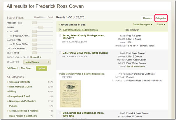 The default view for Ancestry.com search results is ranked records. Click Categories (circled in red) to switch to category view.