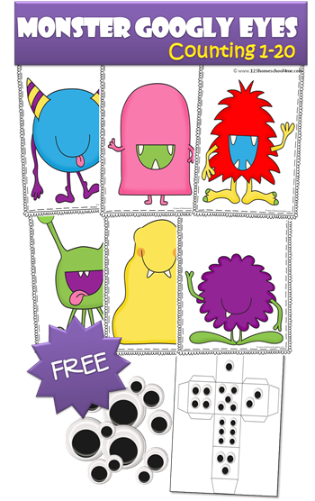 FREE Monster Googly Eyes Counting Activity for Toddler, Preschool, Prek, and Kindergarten. This is such a fun activity to help kids practice counting in a fun, silly, and wonderfully repetitive activity kids will LOVE!! SO FUN!  (preschools, math centers, homeschool)