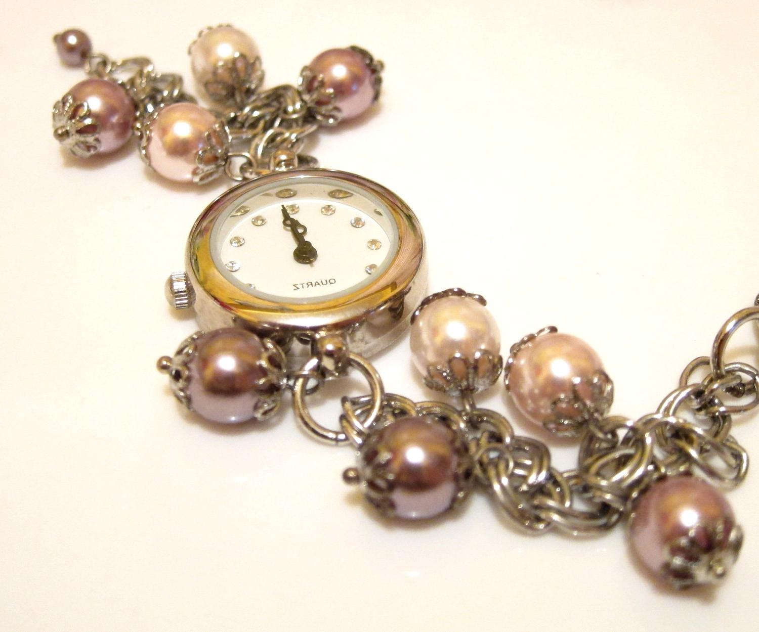 Pearl Beaded Fashion Wrist Watch - Style 1 - Blush Pearl and Purple Pearl