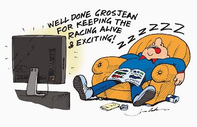 болельщик засыпает перед телевизором - комикс Jim Bamber по Гран-при Японии 2013