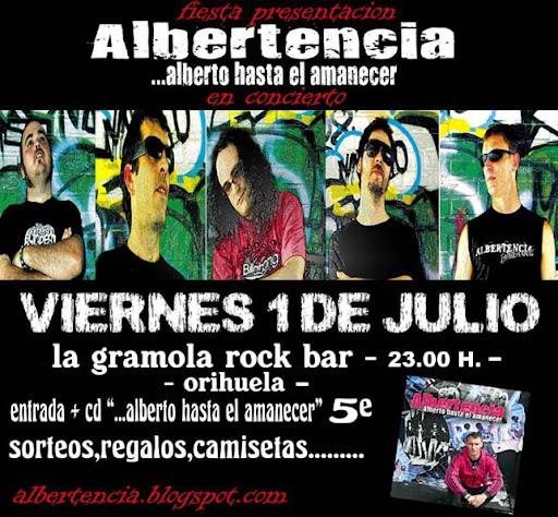 cartel para la actuación de la próxima actuación de Albertencia el viernes 1 de julio de 2011