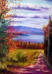 Vue du lac Mégantic. pastel sec, 18 x 14 po.