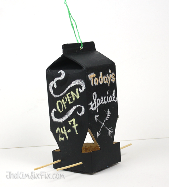 Carton bird feeder