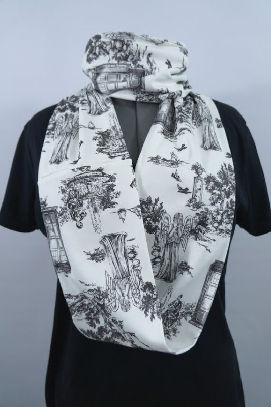 Doctor Who Weeping Angels Toile Infinity Scarf from Nerd Alert Creations