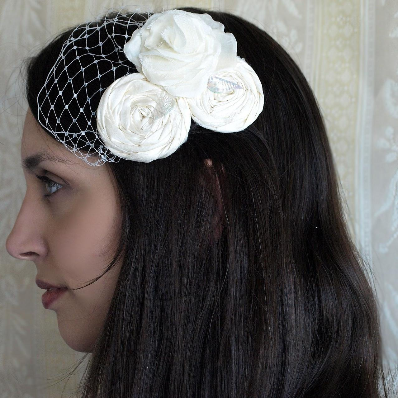Wedding hair accessories, Bridal hair piece, rosette, ivory or white flower,