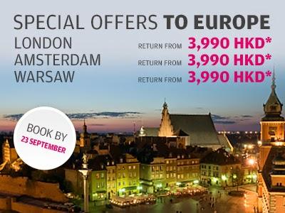 Finnair芬蘭航空歐洲航線促銷,來回機票HK$3,990起(連稅HK$7,099)。