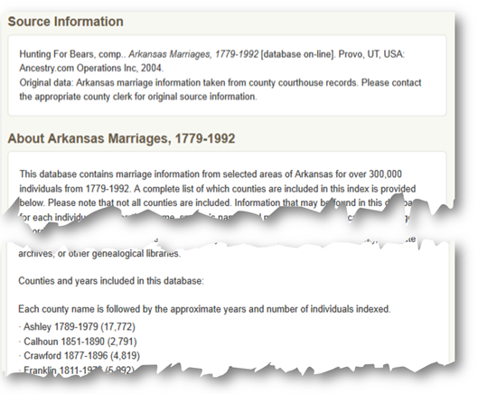 An example showing source information and description for an Ancestry.com database