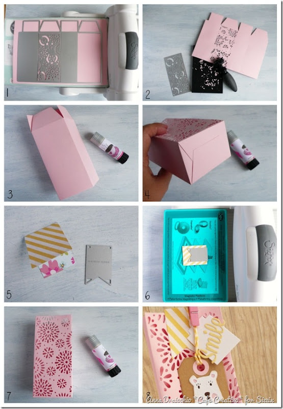 diy tutorial-big shot sizzix dies-treat box-bear tag by cafecreativo