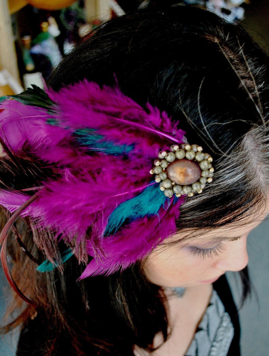 Purple and Teal Feather Hair Clip