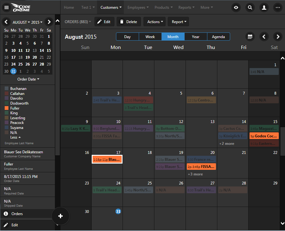 'Dimming' of events is possible by tapping on the color legend in 'Day', 'Week', 'Month', and 'Agenda' modes of calendar view style in apps created with Code On Time.