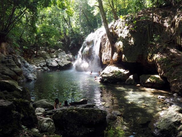 Hot springs waterfall near Rio Dulce, Guatemala