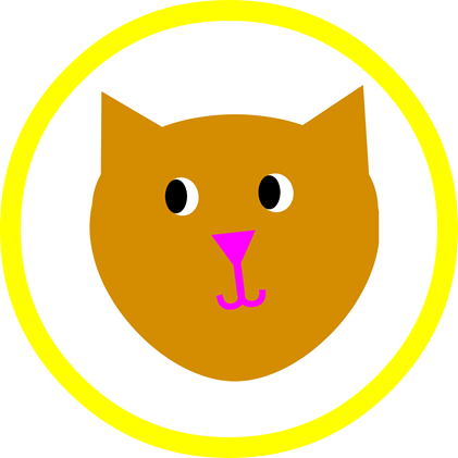 Cat Party Round - Yellow