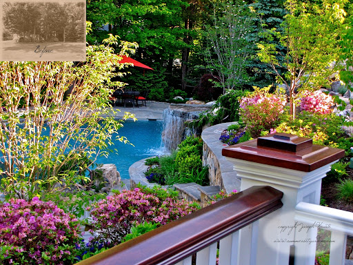 This deck design in New Jersey features ipe decking and mahogany handrails. The deck over looks the newly designed & installed in ground swimming pool, spa, waterfalls and landscaping. The deck was water proofed to allow me to carve out a room below the deck. This landscape architectural design & swimming pool project is in Franklin Lakes New Jersey. <br />Serving New York & New Jersey <br />845-590-7306 <br />You can see more of my work at http://www.summersetgardens.com<br />http://www.youtube.com/user/summersetgardends