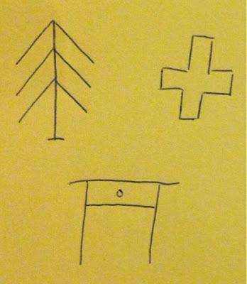 Drei einfache Figuren mussten abgezeichnet werden