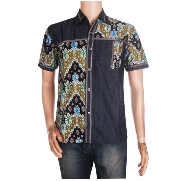 Grosir Batik Jogja » Hem Batik Songket Kombinasi Jean Ernest