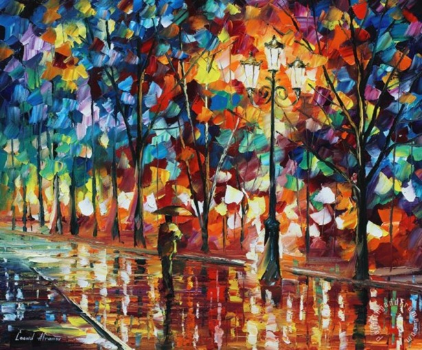 The alone umbrella man Painting by Collection 1; The alone umbrella man Art Print for sale