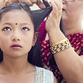 Getting Ready by Laura Drake Enberg - Babies & Children Children Candids ( canon, canon6d, nepalese, colorful, family, colors, tradition, candid, nepali, familyphotography, portrait )