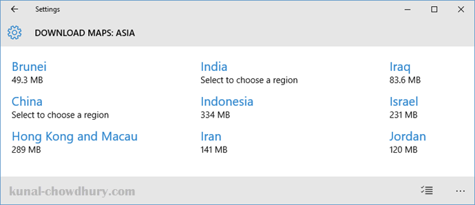 Windows 10 Offline Maps - Select the country that you want to download (www.kunal-chowdhury.com)