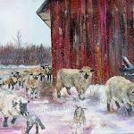 Les moutons à Rolande, acrylique, 11 x 14 po.