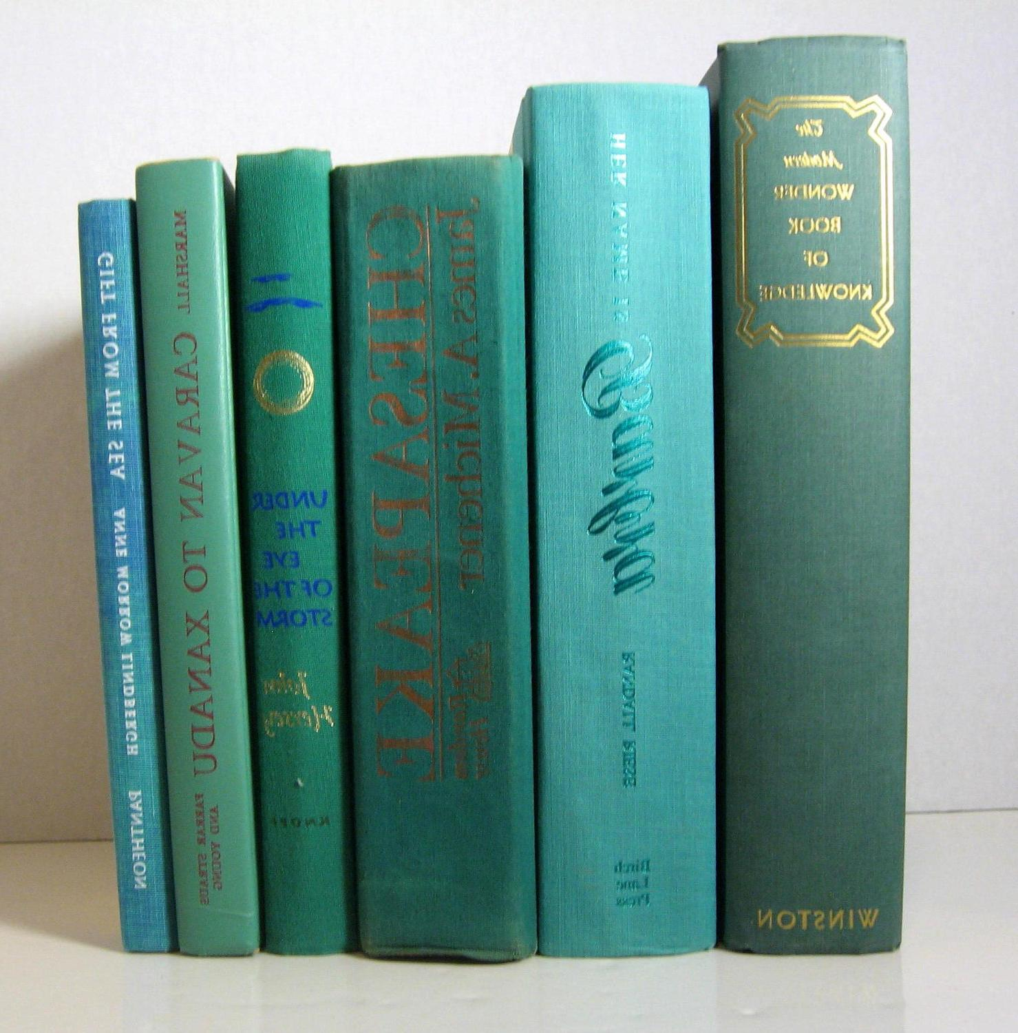 Vintage Instant Book Decor Collection of Teal Blue, Turquoise and Green