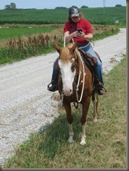 Huey tolerates texting while riding!