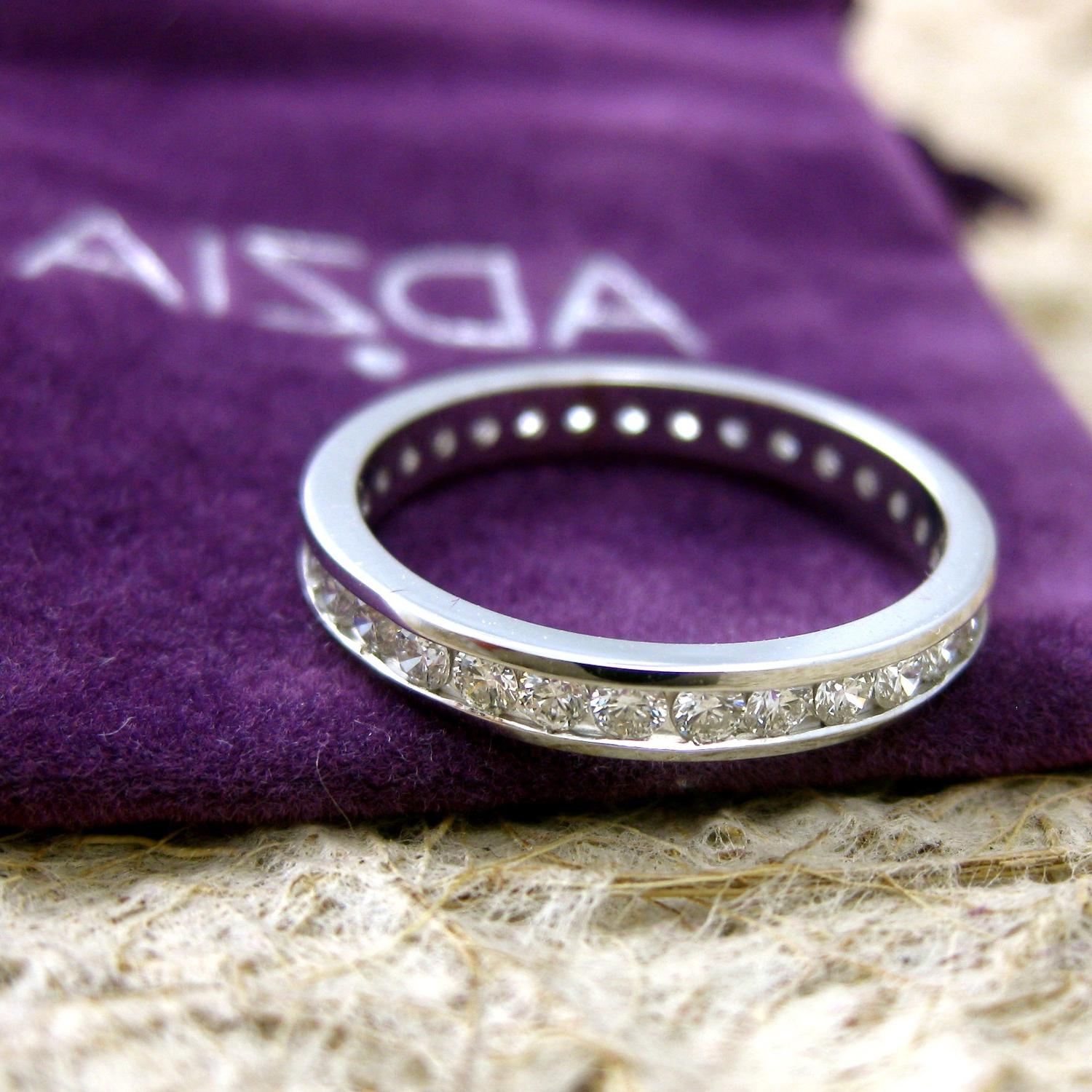 14K White Gold Diamond Eternity Wedding Band. From AdziasJewelryAtelier