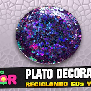 Lindo Plato Decorativo hecho con CDs viejos en solo en 5 pasos | Manualidades Reciclaje
