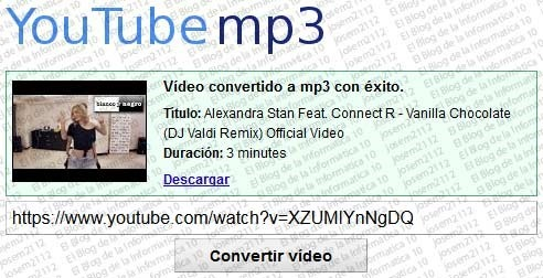 Convertir vídeos youtube a MP3 - vídeo youtube convertido a MP3