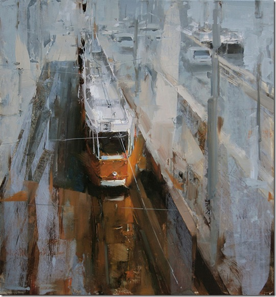 tram-stop-in-the-morning-Tibor-Nagy-ENKAUSTIKOS