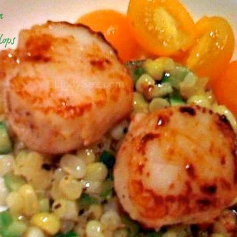 Fresh Corn with Seared Scallops