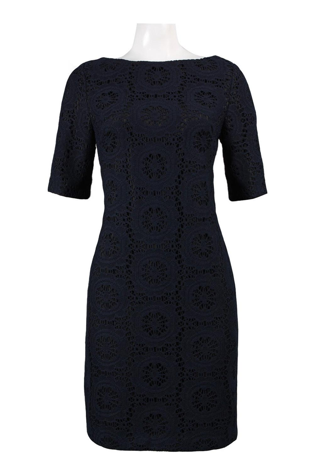 Neckline Lace Shift Dress