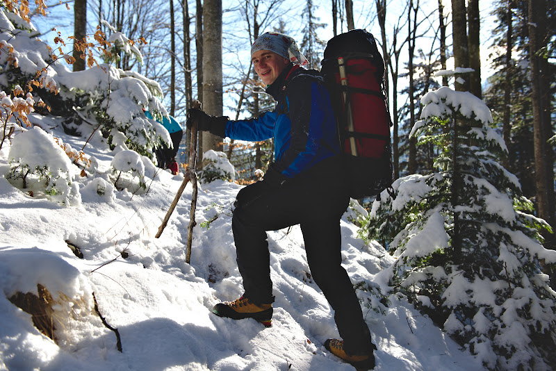 Stefan, in antrenament pentru muntii din Elvetia.