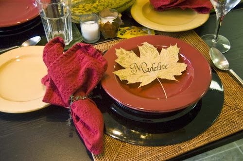 leaf placecard Thanksgiving tablescape