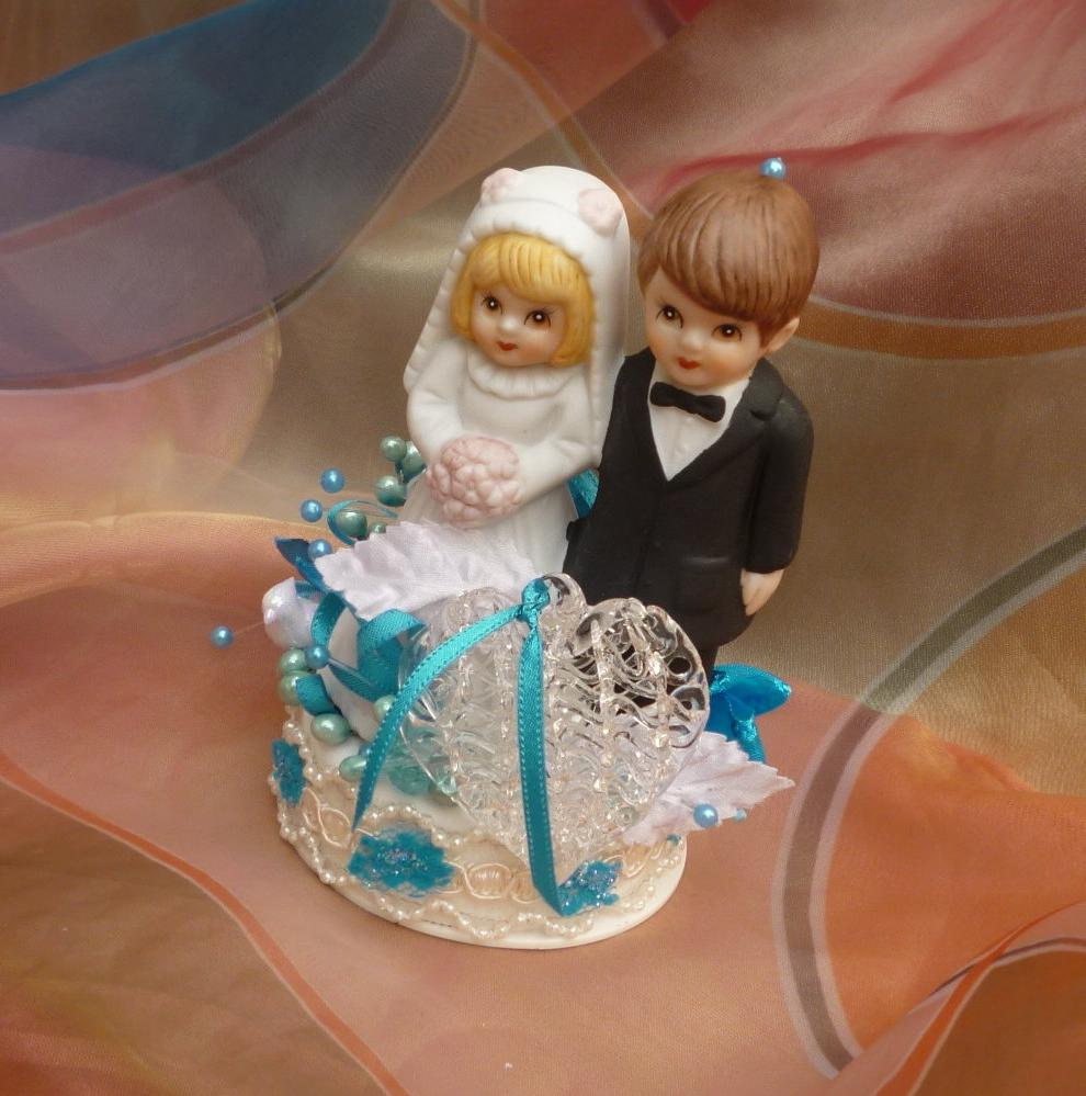 Teal Wedding, Cake Topper,