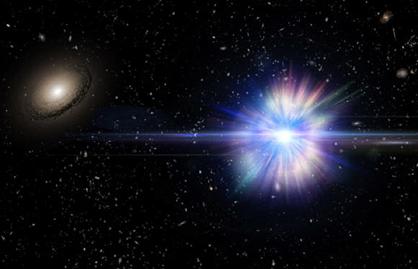 ilustração de supernova explodindo no espaço intergaláctico