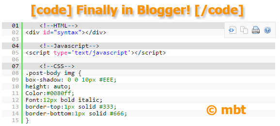 SyntaxHighlighter Shortcode for Blogger