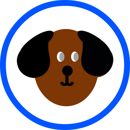 Dog Party Round - Blue